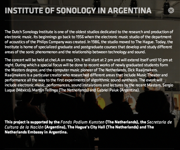 Institute of Sonology in Argentina